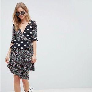 ASOS Polka Dot & Floral Print Ruffle Wrap Dress